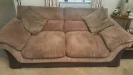 2x TWO SEATER AND FOOT STOOL JUMBOCORD COUCHES FOR SALE