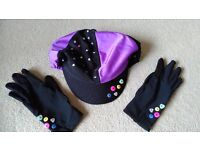 Horse riding hat cover and matching gloves. As new.