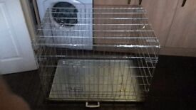 Large pet cage, metal frame with metal tray.
