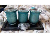 Three Glass Blue Display Vases Pebbles Tray