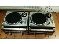 Technics 1200 Turntables, Flight cases. Silver Technics 1210.