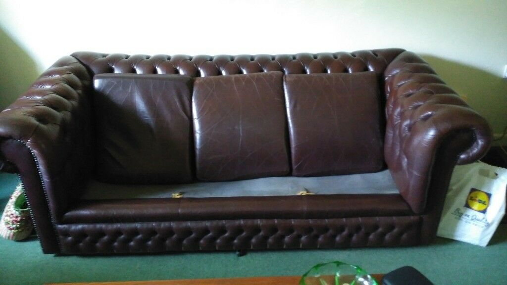 For Sale Chesterfield Sofa 3 Seater In Brown Leather