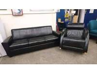 black leather 3 Seater Sofa and Armchair - Delivery Available