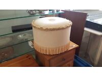 Small Vintage Beige Tasseled Ottoman In Good Condition