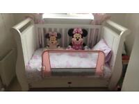 White boori sleigh cot with drawer