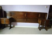 Antique headboard, bedside tables, chest of drawers