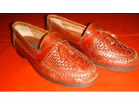 Giorgio Brutini Le Glove Brown Woven Leather Loafers Sz 7 Made in Brazil