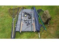 Selection of rods reels nets etc