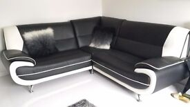 Black and white corner sofa