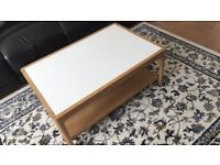 Coffee Table White & Beech 2 Tiers Very Good Condition Living Room Sitting Room Lounge