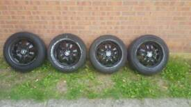 "4 16"" Bmw 3 3eries Alloy Wheels plus tyres in good condition"