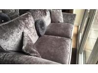 Scs crushed velvet sofa and swivel chair