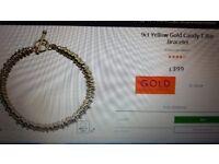 9ct yellow gold candy tbar bracelet