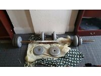 Vinyl and iron weights with barbell and dumbells