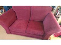 2 Seater Fabric Sofa / couch. Maroon/ burgandy/purple