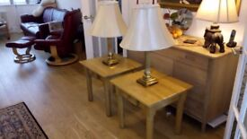 Pair brass plated table lamps with fluted column stems and good quality cream shades