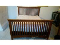 Solid Oak Kingsize Bed With Air Mattress