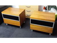 Ex-display DWELL walnut black glass modern contmporary 2 drawer bedside