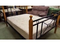 Wood and Metal Frame Double Bed with Mattress in Great Condition