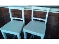 2 Quaker style/ breakfast bar white chairs