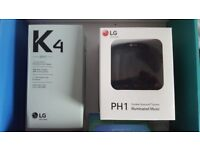 LG K4 mobile phone with PH1 bluetooth speaker