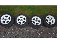 White Alloy Wheels 4x100