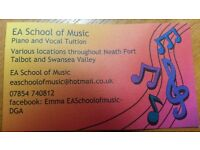 5 x 30 minute piano or singing lessons - £65.00