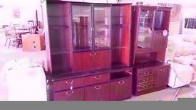 VERY GOOD CONDITION!!! 2 piece 2 door glass fronted display cabinet