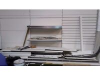 Shop shelving excelleny condition at least eight bays and two self standing double unit bays
