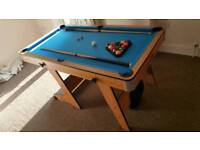 Small pool/snooker table with balls, cues & triangle + ping pong/table tennis top