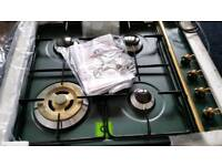 Green enamel gas hob brand new