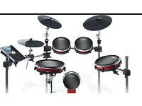 ALESIS CRIMSON MESH ELECTRONIC DRUM KIT + DRUM MANUAL, STALL AND HEADPHONES