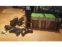 Xbox 360 S 120gb + 23 games + 2 controllers + kinect + wireless headset