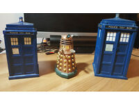 Doctor Who Series 6 DVD, Dalek figure, 2 TARDIS moneyboxes. £2-£5 individually / £10 for everything