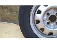Wheel and tyre 13 inch, reasonable condition & legal tread