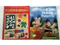 TWO WOODWORK BOOKS - Scroll Saw Holiday Patterns AND How to make simple wooden Puzzles & Jigsaws