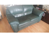 Dark Green Leather Sofa, three seater, two Seater & Foot Stall