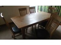 Pine dining table, six chairs, side board
