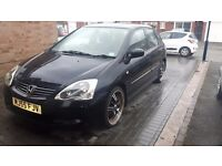 HONDA CIVIC 1.6( OPEN TO OFFERS) LOW MILEAGE PLUS 4 STANDARD HONDA ALLOYS WITH GOOD TYRES