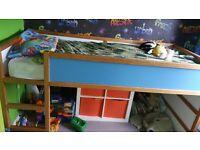 ikea kura cabin mid sleeper bed frame & canopy for sale