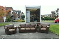 3, 1, 1 seater sofa in brown leather £175 delivered