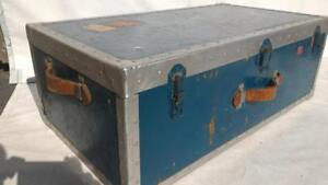 Antique Vintage wood trunk wooden  blue steamer  13 in. H x 36 in. W x 20 in