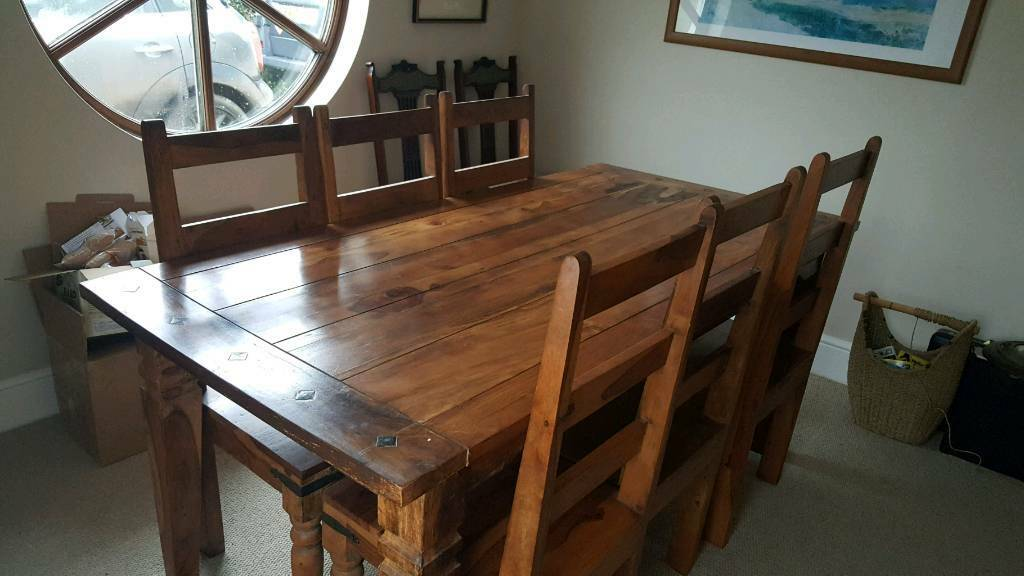 LARGE REFECTORY DINING TABLE 6 CHAIRS