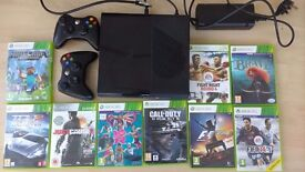 Xbox 360 250gb console (boxed) with 2 controllers and 9 games