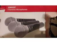 3 Dynamic Microphones DMO3X Chord.Set NEW. A beautiful velvet sound.