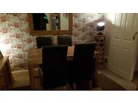 4 X High Back Brown Leather Dining chairs for sale