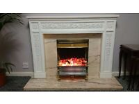fire place in very good condition, stone base, wooden effect frame, twinkling stones.