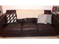 Brown leather sofa and arm chair, quick sale £200 for both