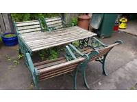 Garden table, chairs and bench
