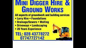 Mini Digger Lorry Foundations Sewers Driveways Landscaping